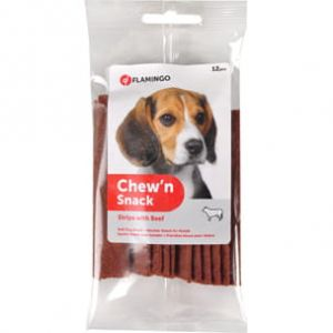 CHEW'N SNACK STRIPS BEEF 12 PCS FLAMINGO